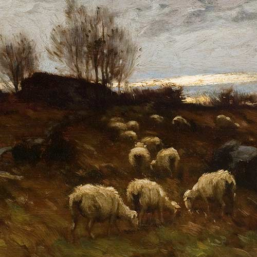 Winter Twilight - Grazing Sheep