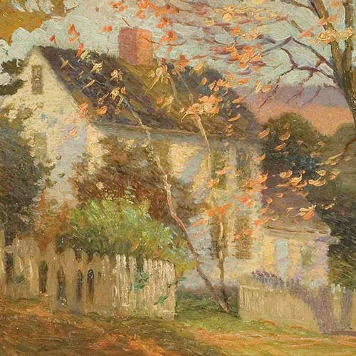 White Cottage in Autumn